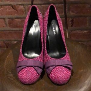 Amanda Smith fuchsia tweed heeled shoes